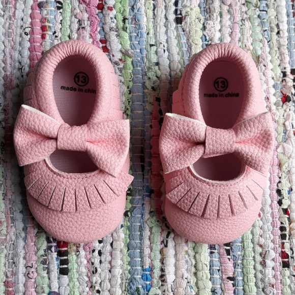 Other - 6.5 Pink Baby Toddler Bow Moccasins Minimalist